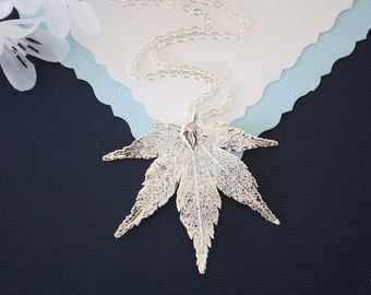 Silver Japanese Maple Leaf Necklace, Real Silver Leaf, Real Maple Leaf Necklace, Maple Leaf, Sterling Silver, LC92