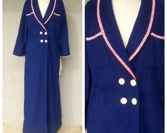 DEADSTOCK Vasarrette robe / Hollywood glam starlet loungewear / 70s does 40s navy blue sailor, NWT, womens med-large