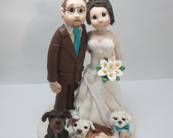 Bride and Groom with pets Wedding Cake topper,Custom wedding cake topper, personalized cake topper, Mr and Mrs cake topper
