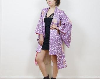 Vintage Japanese kimono, Antique kimono,Kimono jacket, lilac, boho kimono, kimono duster, kimono robe, 80s kimono