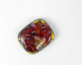 Dichroic Fused Glass Cabochon - Burgundy Red and orange/yellow - 1675 - 21mm x 17mm