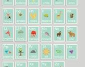 Spanish Alphabet Blue Nature Children's Wall Cards, 5x7, Nursery Wall Art, Animal Themed Kid's Room,Nature,ABC, Gender Neutral Nursery Decor