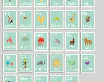 Spanish Alphabet Flash Cards, Abc Spanish Prints, Spanish Nursery Decor, Spanish Flash Cards, Eductional Art Wall Cards