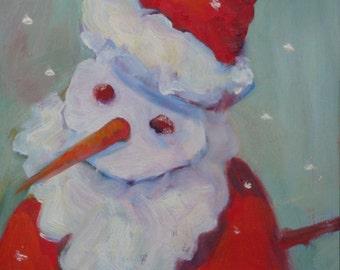 Santa Snowman Original Painting//Oil on Wood 6 x 8//Christmas Art