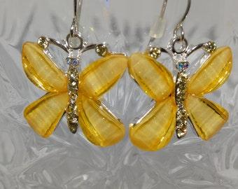 Vintage Yellow Butterfly Dangle Earrings, Butterfly kisses, Sunshine Yellow, Butterfly hook earrings