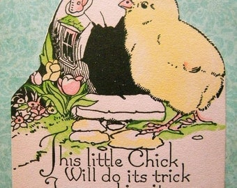 Vintage Easter Card Little Chick with Egg House 1920's