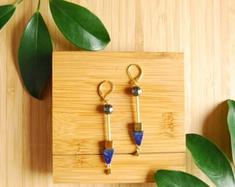 lapiz lazuli earrings / hand made /  silver and gold hematite / japanese minimalist / beaded earrings /
