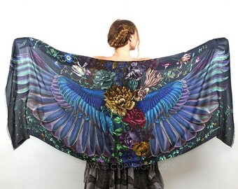 Dark Wings Scarf, Hand Painter Wrap, Silk Shawl, Oversized Scarf, Maxi Shawl, Designer Shawl, Art Gift, Boho Shawl, Wings Shawl