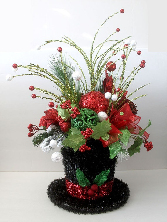 Christmas Decor Centerpiece Snowman Hat Table Dcor