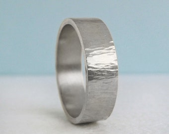 7mm Platinum Comfort Fit Wedding Band | Tree Bark Hammer Texture| Flat comfort fit platinum Men's Band | Recycled Platinum Wedding RIng