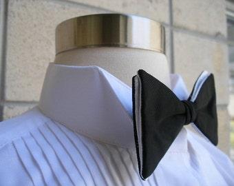 Vintage bow tie, black and white satin clip on tuxedo bow tie by Delton. Madmen era, swank event tie.