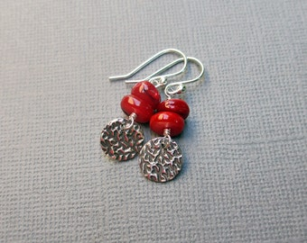 Red Bead Earrings Shell Beads & Silver Dangle Sterling Silver Fine Silver Stamped Silver Charm Red Dangle Earrings PMC Artisan Jewelry