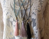 Silk Tassel Fringe Buddha and Crystal Knotted Necklace