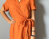 Vintage Orange Linen Dress - Kaspar 14 Petite - Cool and Comfortable