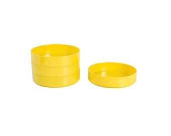 Vintage 70s Bowls - 70s Plastic Bowls - 70s Melamine Bowls - Yellow Bowls - Heller Vignelli Style - 4 - Bright Yellow Plastic - Stackable