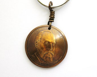 Domed Coin Keychain, James Garfield, Statue of Liberty, U.S. President, American Dollar, Key Ring by Hendywood
