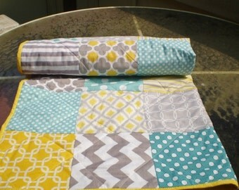 Handmade Baby quilt, Baby boy bedding, baby girl quilt, teal,aqua,grey, yellow nursery, Crib quilt,chevron quilt,  toddler, Sun,Sea and Mist