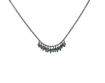 Blue Diamond Bead Fringe Necklace in Oxidized Sterling Silver with Twelve Diamonds