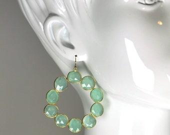 Aqua Chalcedony Slice Hoop Statement Earrings