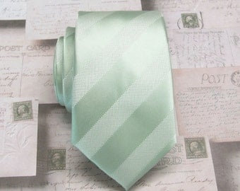 Dusty Mint Green Dusty Shale Stripes Mens Necktie with Matching Pocket Square Option. Wedding Ties.