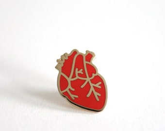 Anatomical Heart Pin Badge, Hard Enamel Pin Back Button, Follow Your Heart, Red Pin Badge
