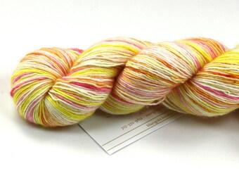 Peach Schnapps--SALE--hand dyed sock weight yarn, merino and silk single ply, (438yds/100gm)