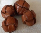 Set of 4 VINTAGE Small Knot Brown Leather BUTTONS