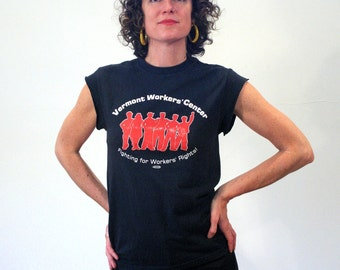 90s Workers Rights T-shirt, Vermont Workers Center T-shirt, Labor Rights T-shirt, Muscle Tee, Union Workers T-shirt, S