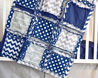 Arrow Crib Bedding - Navy / Grey- Tribal Crib Bedding- Native American Quilt Bumperless Crib Bedding - Rag Quilt / Skirt / Sheet / Bumpers