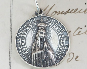 Sterling Silver Our Lady of Fatima Medal - Antique Replica Catholic Medal