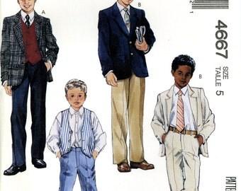 McCall's 4667 Boys Suit Jacket Vents Pants Trousers Size 5 Chest 24 Uncut Vintage Sewing Pattern 1990