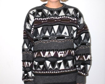 80s textured sweater vintage COOGI style unisex pull over cosby jumper large os