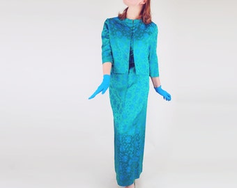60s Green and Blue Damask 3-Piece Outfit with Long Skirt, Top and Jacket L