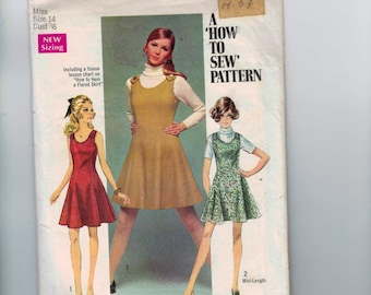 1960s Vintage Sewing Pattern Simplicity 8367 Misses Flared Jumper Dress Size 14 Bust 36 60s 1969
