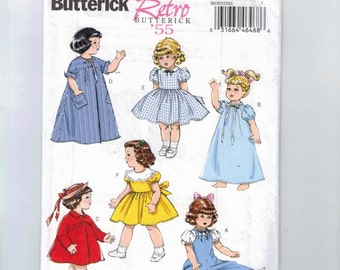 Doll Sewing Pattern Butterick B6302 6302  Reproduction 18 Inch Retro Dress  Nightgown Robe Overalls 1950s 50s Style Vintage UNCUT