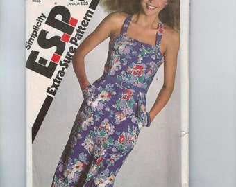 1980s Vintage Sewing Pattern Simplicity 9339 Misses Slim Sundress with Pockets Size 6 8 10 Bust 30 1/2 31 1/2 32 1/2 80s 1980 UNCUT