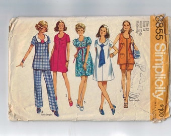 1970s Vintage Sewing Pattern Simplicity 8855 Misses Maternity Dress Tunic Pants Shorts Size 12 Bust 34 70s  99