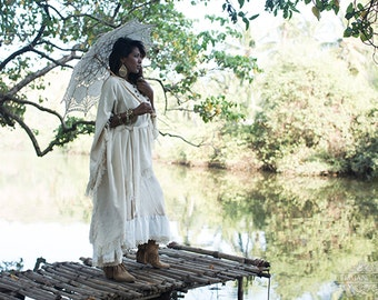 FRINGY BOHO PONCHO - Bohemian Hippie Burning man Dress Fairy Pixie Hoodie Ethnic Lagenlook Mori Gypsy Witch Goddess - Off white Cream
