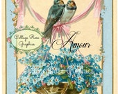 French AMOUR  blue birds vintage shabby cottage Large digital download ECS buy 3 get one free perfect for VALENTINES