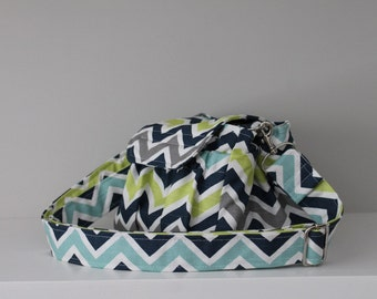 Navy Green Grey Zig Zag Chevron Custom Camera Bag by Watermelon Wishes