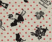 Alice in Wonderland - Alice L40576-10 Natural, Japanese Cotton Linen Girl's Story by Lecien of Japan, 1 yard