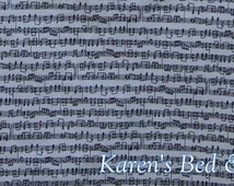 Black & White Sheet Music Fabric By the Yard, Quarter Yard Fat Quarter Fabric Cotton Quilting Fabric w1/15