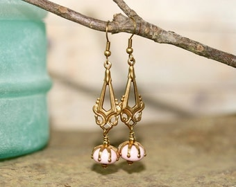 Pink Lampwork Glass and Brass Earrings, Handcrafted Vintage Style Art Glass Jewelry, Modern Art Deco Influenced Drops, Soft Color Palette