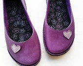 Alice in Wonderland, EDITH Lovehearts, Handmade Leather Whimsical Shoes by Fairysteps in Purple, Violet, Pansy, Lavender, pick a colour