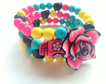 Pink Turquoise Yellow Black Day of the Dead Sugar Skull Memory Wire Bracelet