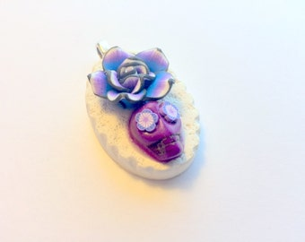 Lolita Day of the Dead Sugar Skull Pendant in Purple Black White Rose