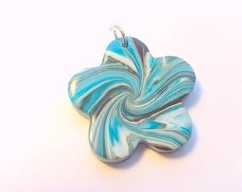 Turquoise Brown White Flower Swirl Handmade Polymer Clay Pendant