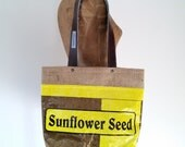 Tote Bag, Upcycled Bird Seed Bag, burlap-lined, eco-friendly Maine made gift