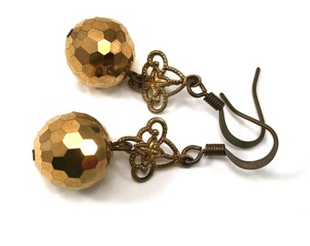Gold swarovski dangle earrings