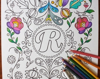 Adult Coloring Poster - Personalized // Adult Coloring // Adult Coloring Page // Wall Art // Coloring Book // Colored Pencils // Rosemaling
